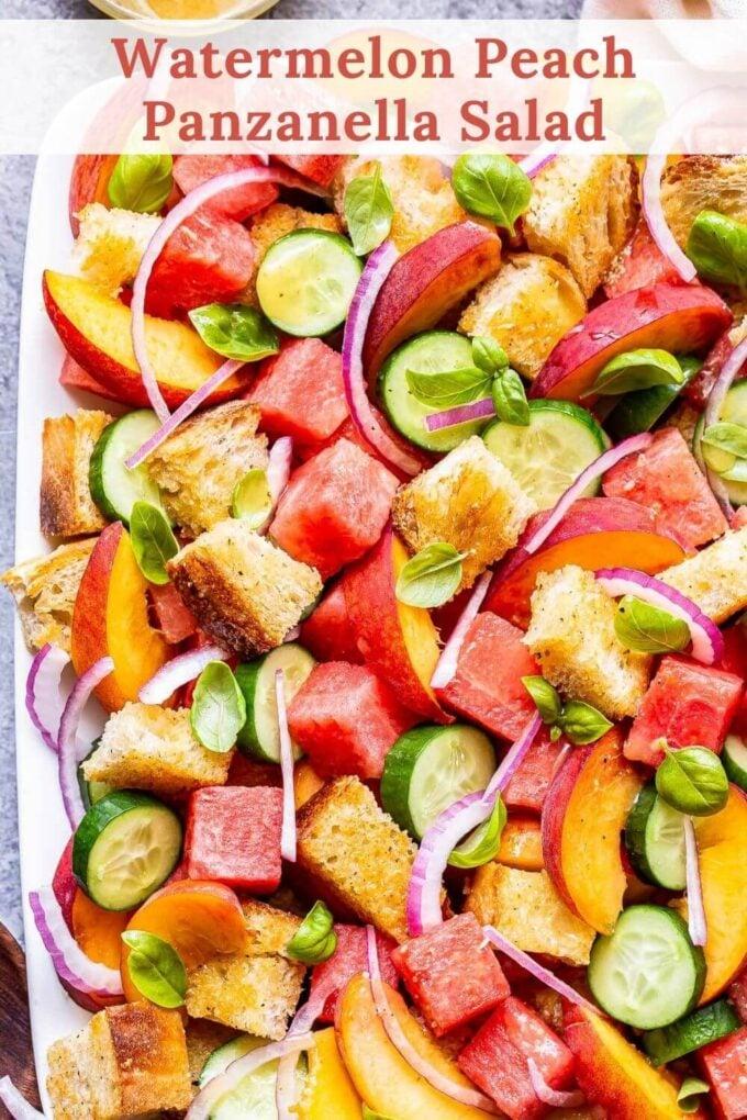 Watermelon Peach Panzanella Salad pinterest image