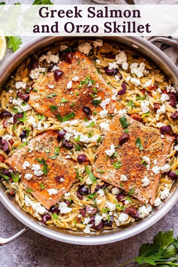Greek Salmon and Orzo Skillet pinterest collage