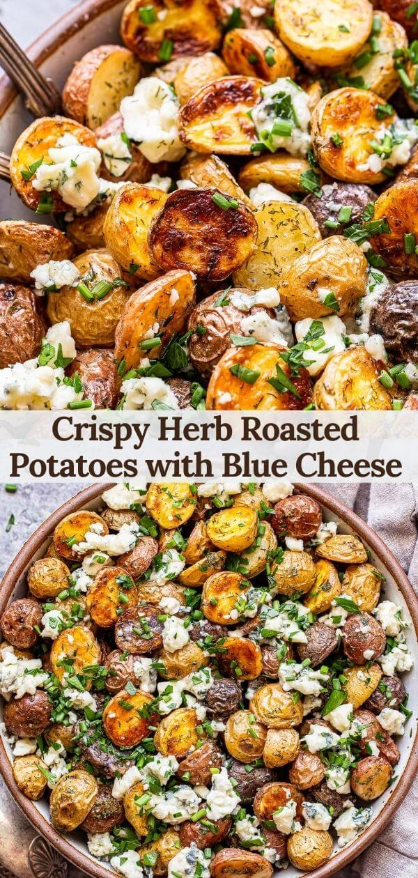 herb roasted potatoes with blue cheese pinterest collage