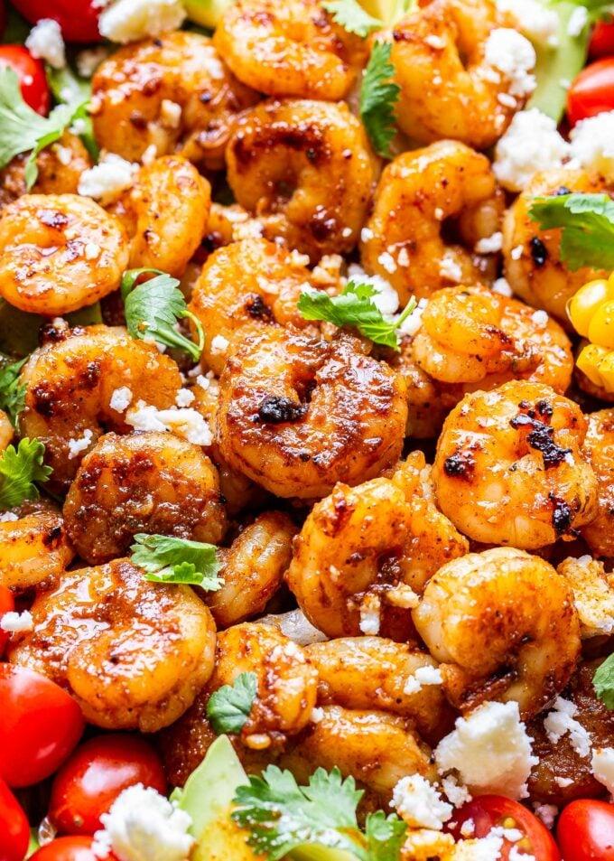 Closeup of the shrimp on the Honey Lime Shrimp Salad