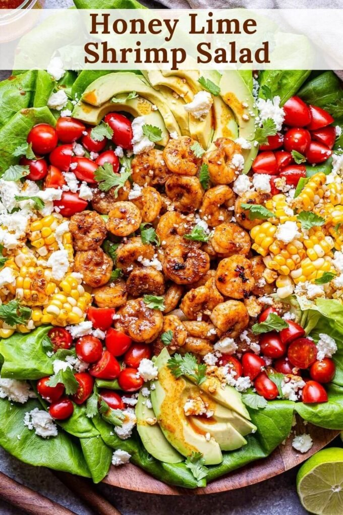 Honey Lime Shrimp Salad pinterest collage