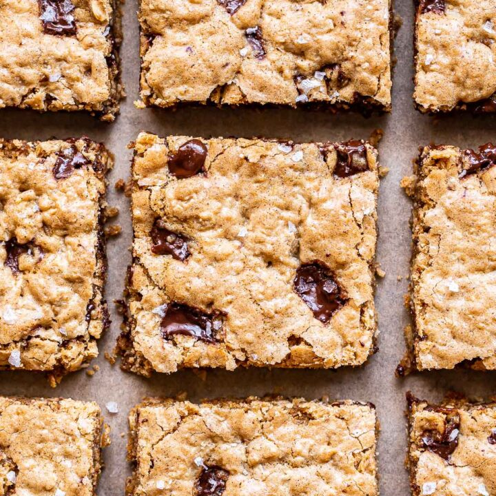 Oatmeal Chocolate Chunk Cookie Bars cut into squares.