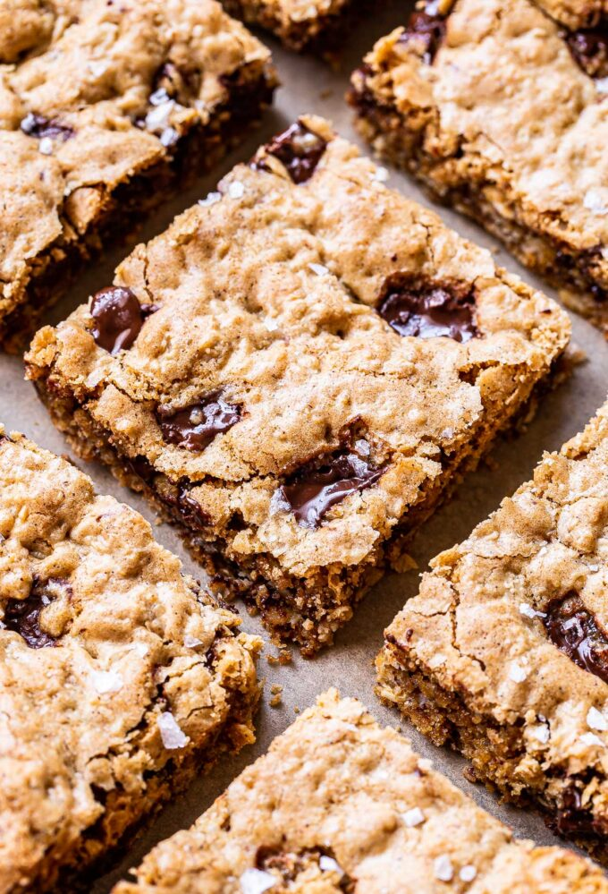 Oatmeal Chocolate Chunk Cookie Bars cut into squares