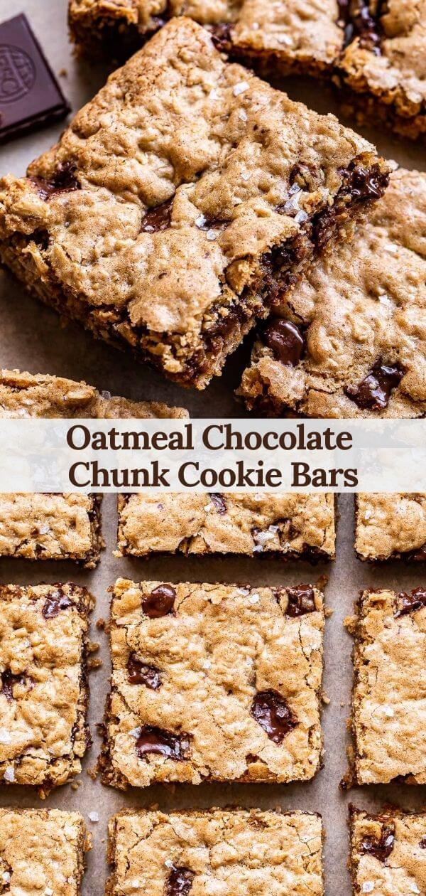 Oatmeal Chocolate Chunk Cookie Bars Pinterest collage