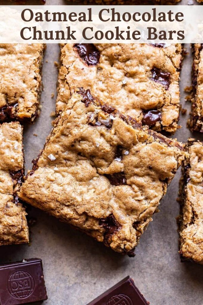 Oatmeal Chocolate Chunk Cookie Bars Pinterest collage.