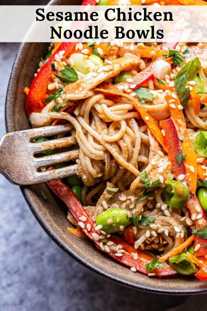 Sesame Chicken Noodle Bowls pinterest collage