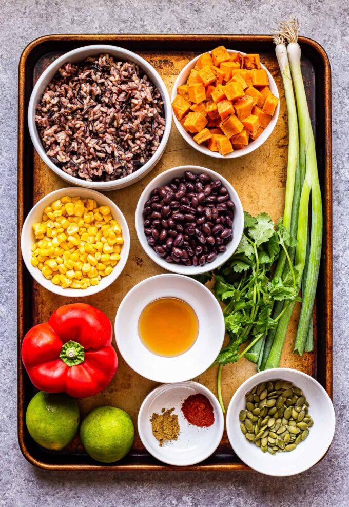 ingredients used to make Southwest Sweet Potato, Black Bean, Wild Rice Salad on a sheet pan
