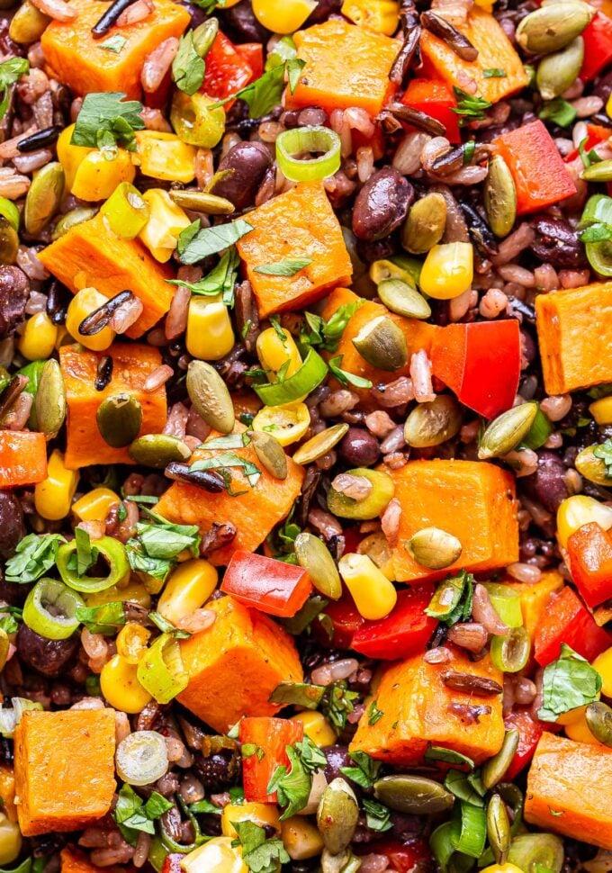 closeup photo of Southwest Sweet Potato, Black Bean, Wild Rice Salad.