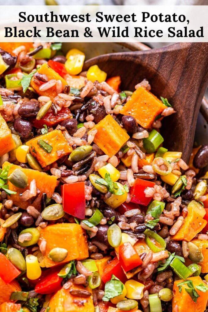Southwest Sweet Potato, Black Bean, Wild Rice Salad pinterest collage