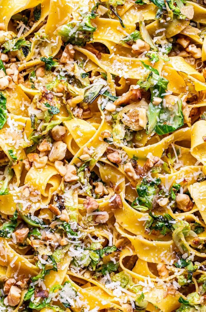 closeup photo of brown butter brussels sprouts pasta
