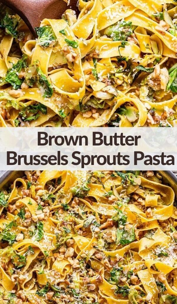 brown butter brussels sprouts pasta pinterest collage