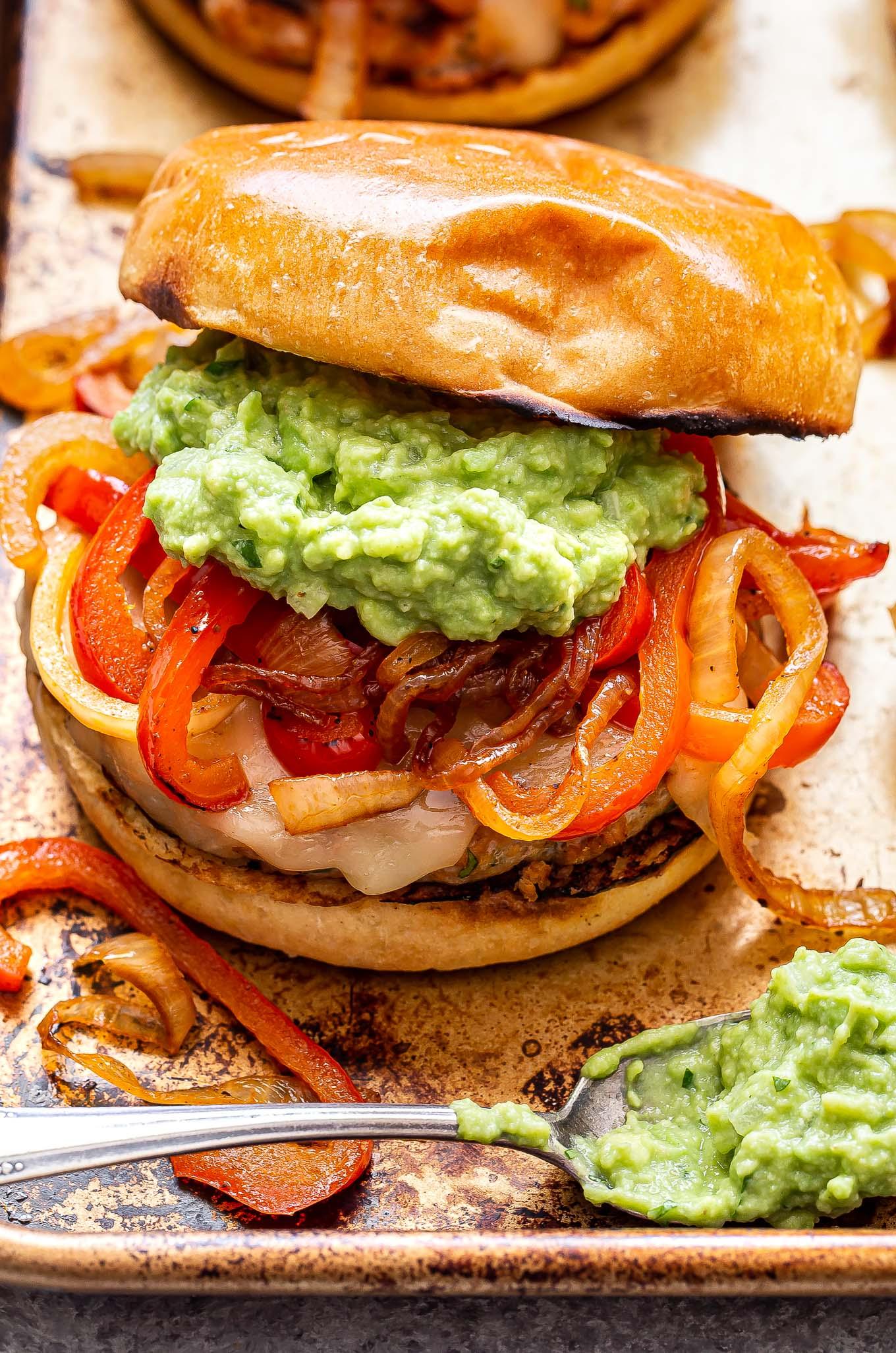 Chicken Fajita Burger on a sheet pan