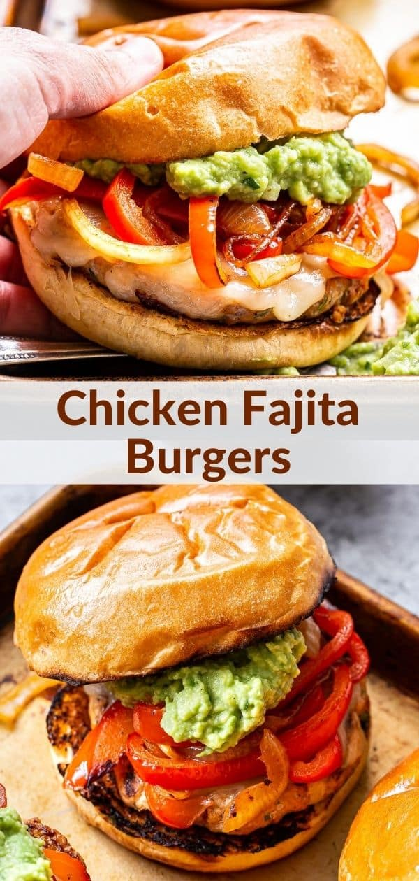 Chicken Fajita Burgers pinterest collage