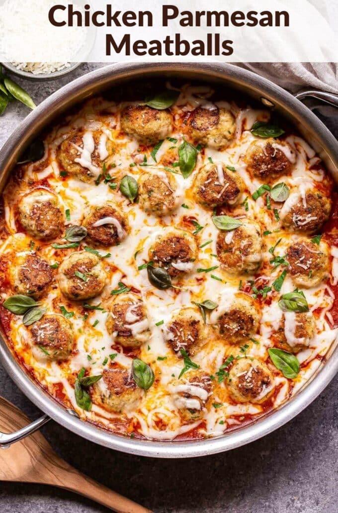 Chicken Parmesan Meatballs pinterest collage