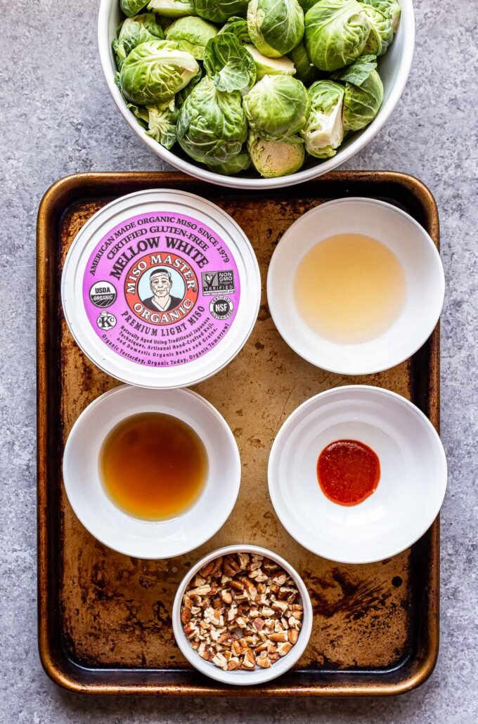 ingredients used to make Miso roasted brussels sprouts on a sheet pan