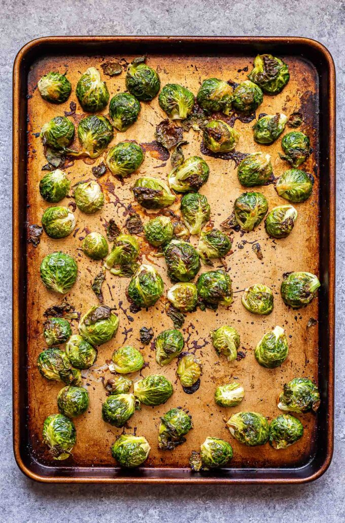 Miso roasted brussels sprouts on a sheet pan
