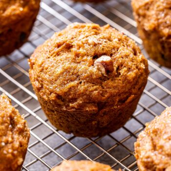 pumpkin apple muffins on cooling rack