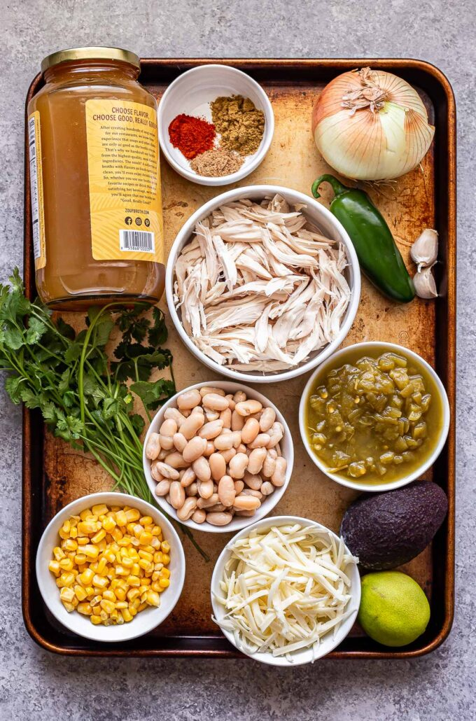 ingredients used to make White Chicken Chili on a sheet pan.