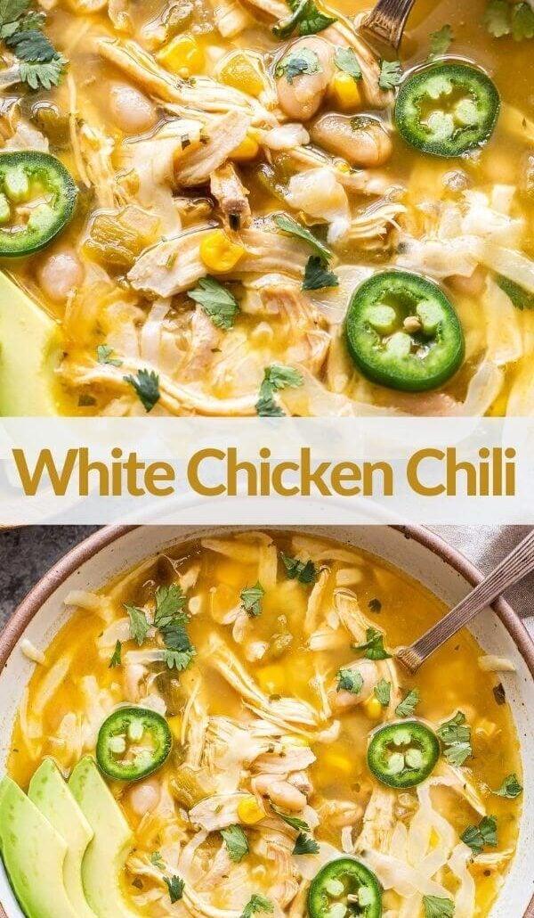White Chicken Chili pinterest collage