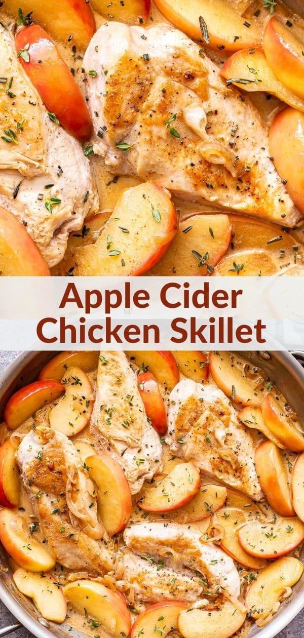 Apple cider chicken skillet pinterest collage